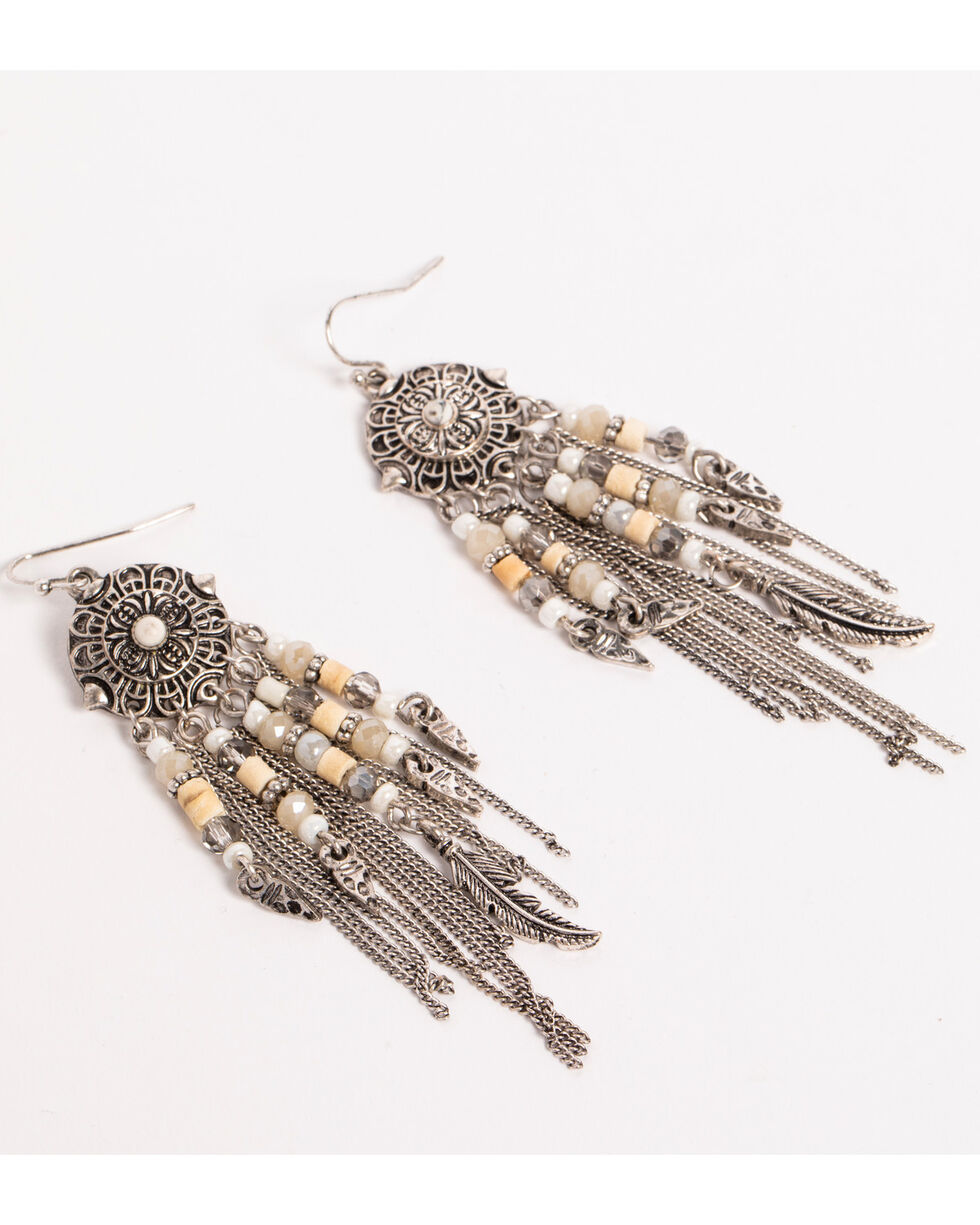 Shyanne Women's Beaded Chain Fringe Earrings, Sand, hi-res