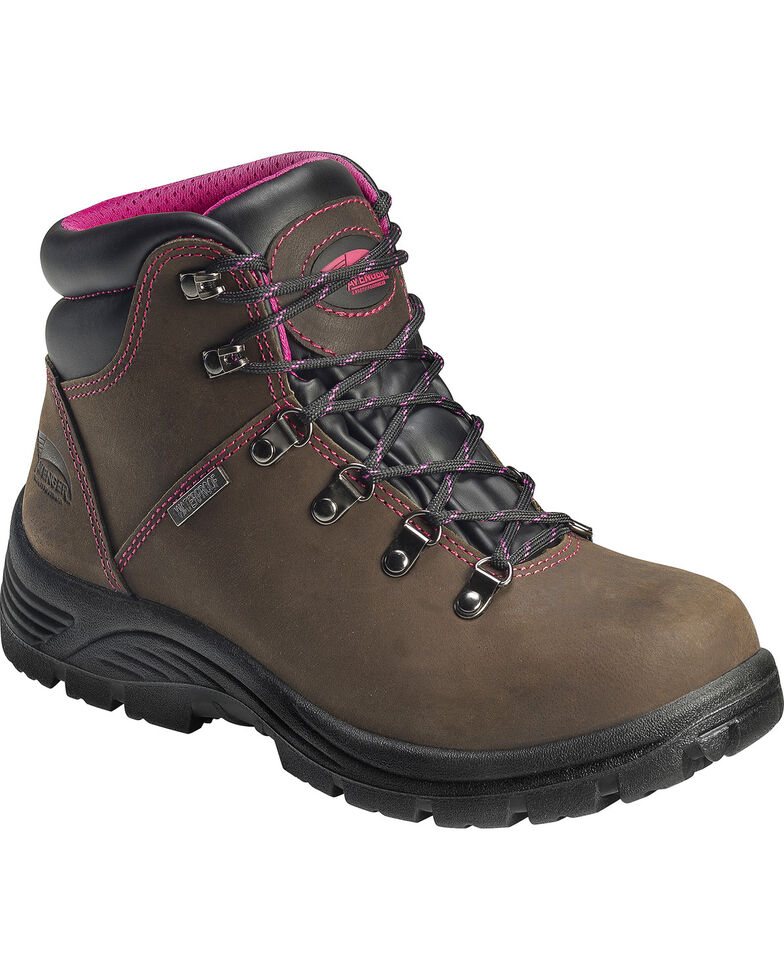 """Avenger Women's Waterproof 6"""" Lace-Up EH Work Boots - Round Toe, Brown, hi-res"""