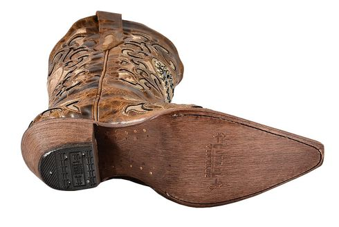Corral Sand Maipo Crystal Heart Cowgirl Boots - Pointed Toe, Sand, hi-res