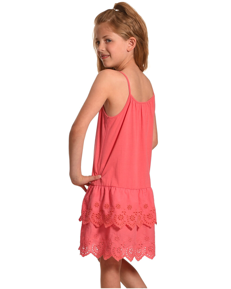 Shyanne Girls' Tiered Lace Dress, Pink, hi-res