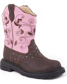 Roper Girls' Light Up Western Boots, Brown, hi-res