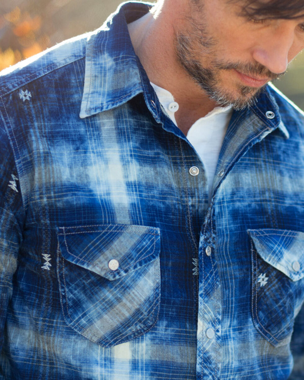 Ryan Michael Men's Indigo Plaid Shirt , Indigo, hi-res