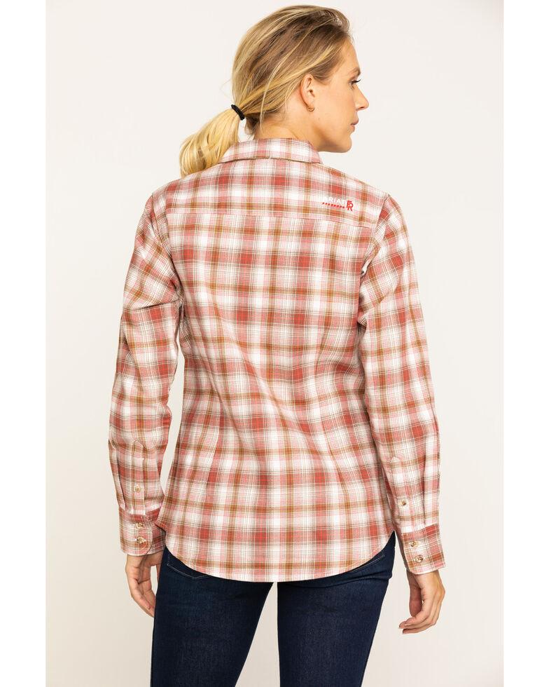 Ariat Women's FR Orange Victoria Plaid Long Sleeve Work Shirt , Orange, hi-res