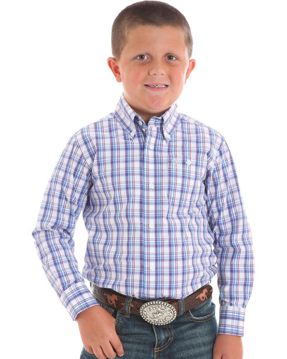 Wrangler Boys' Plaid Long Sleeve Button Down Shirt, Blue, hi-res