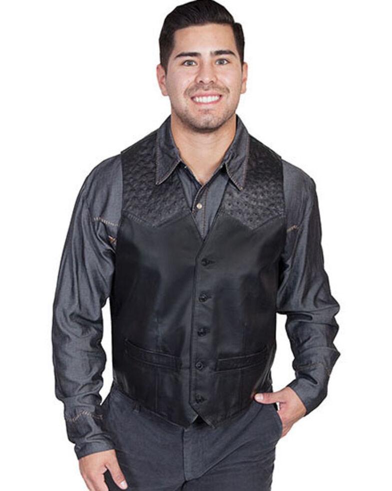 Scully Men's Ostrich Trim Leather Vest, Black, hi-res