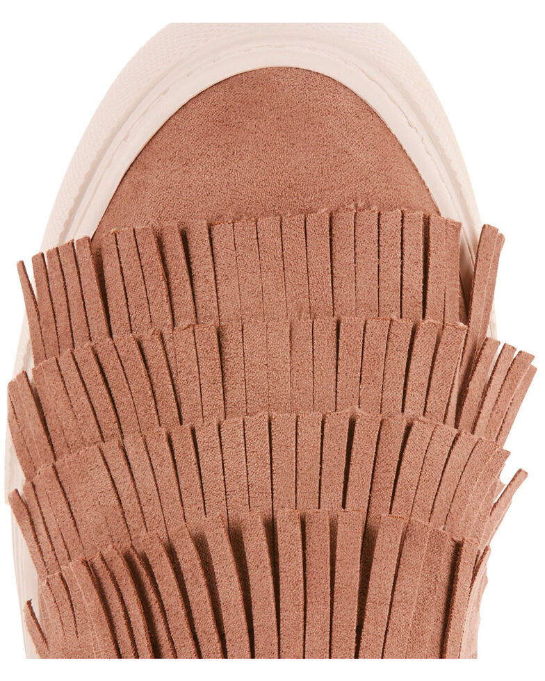 Ariat Women's Unbridled Bliss Taupe Suede Fringe Shoes - Round Toe, Taupe, hi-res