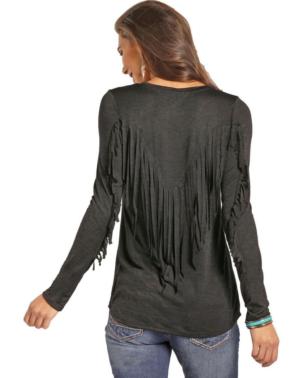 Rock & Roll Cowgirl Women's Long Sleeve Fringe Tee, Black, hi-res