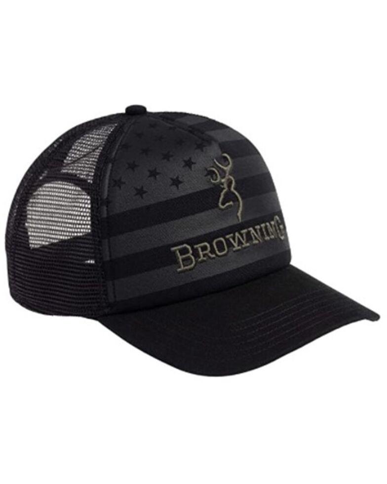 Browning Men's Black Foam Flag Embroidered Logo Mesh-Back Trucker Cap, Black, hi-res