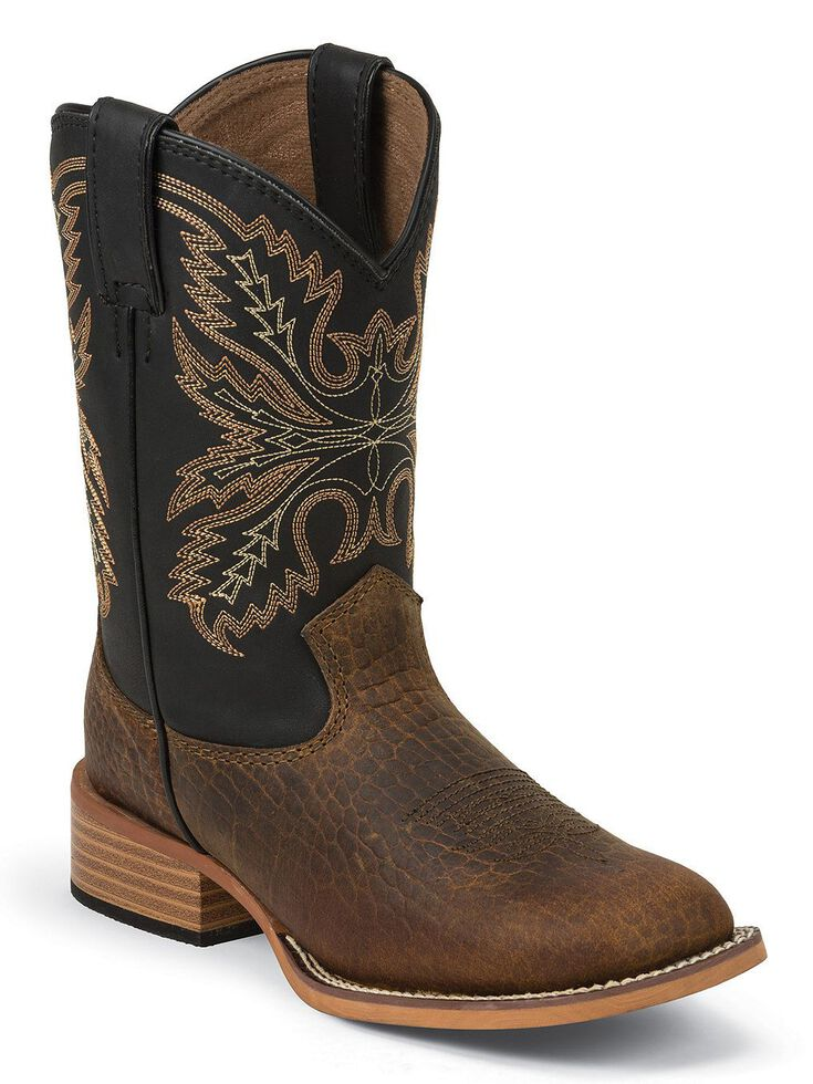 Justin Bent Rail Kids' Midnight Coyote Cowboy Boots - Square Toe, Brown, hi-res