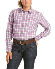 Ariat Women's FR Lavender Plaid Aja Logo Long Sleeve Button Work Shirt , Lavender, hi-res