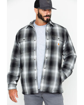 Carhartt Men's Hubbard Sherpa-Lined Shirt Jac , Charcoal, hi-res