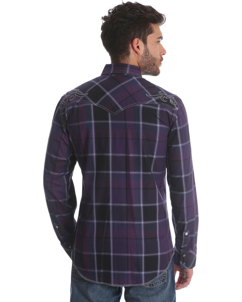 Rock 47 by Wrangler Men's Purple Plaid Long Sleeve Western Shirt, Purple, hi-res