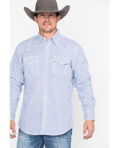 Wrangler 20X Men's Competition Advanced Comfort Geo Print Long Sleeve Shirt , Blue/white, hi-res
