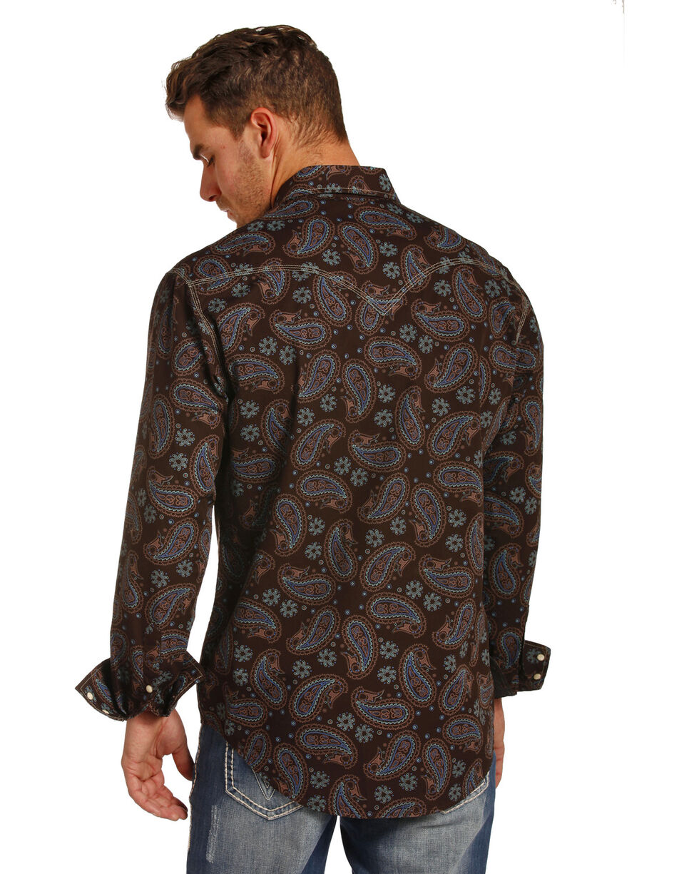Rock & Roll Cowboy Men's Enzyme Washed Paisley Print Shirt , Multi, hi-res