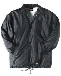 Dickies Men's Snap Front Nylon Work Jacket, Black, hi-res