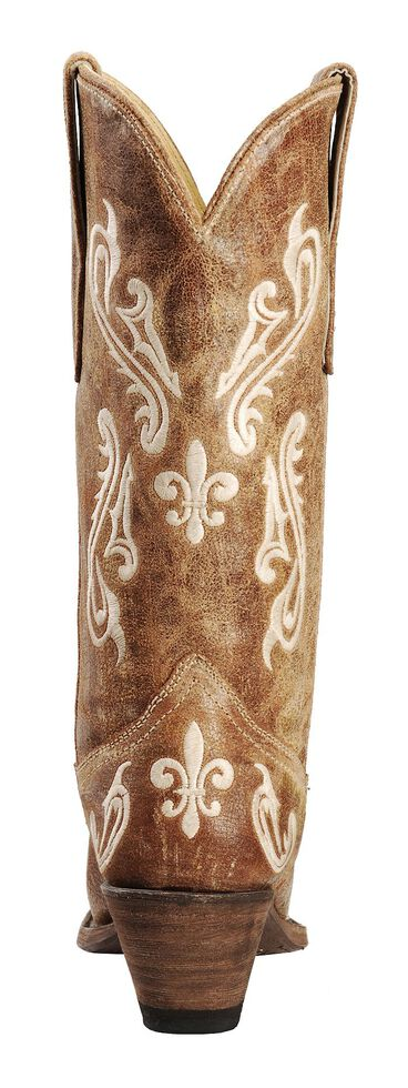 Corral Cortez Distressed Fleur-De-Lis Embroidered Cowgirl Boots - Snip Toe, , hi-res