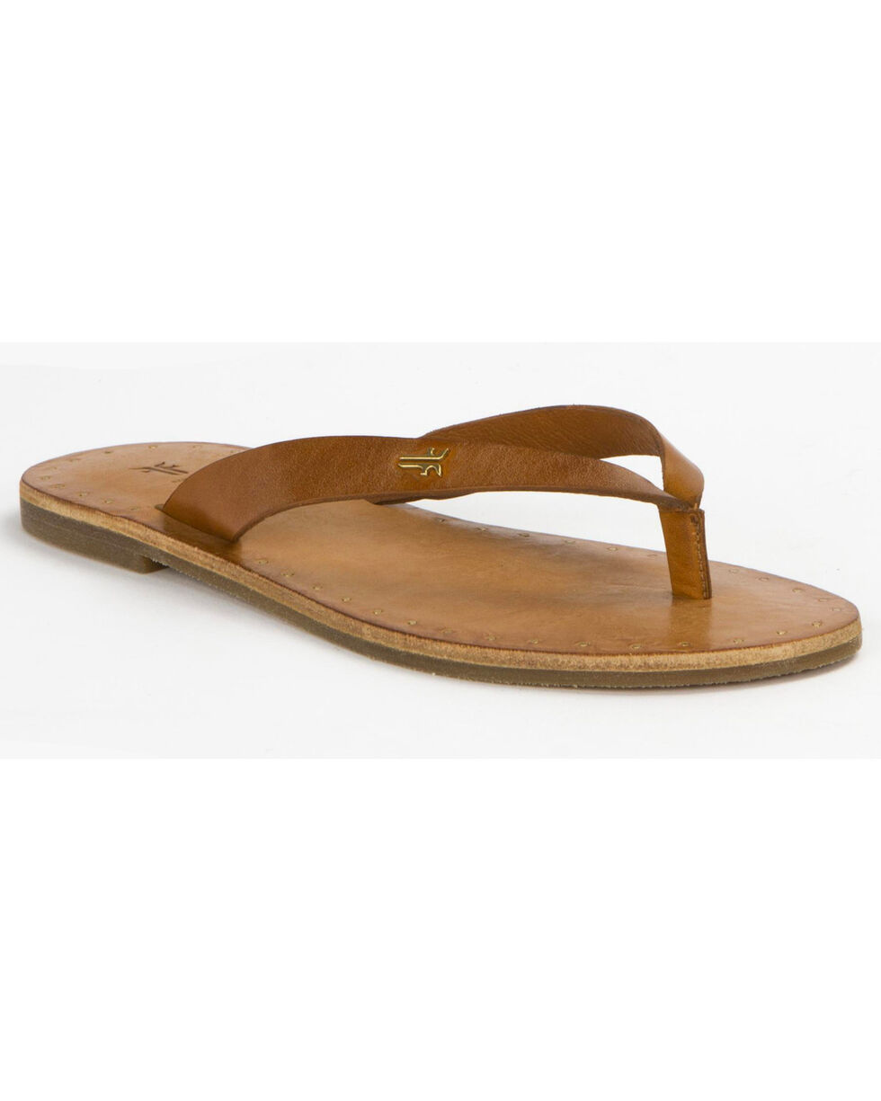 Frye Women's Ally Logo Flip Flops , Brown, hi-res