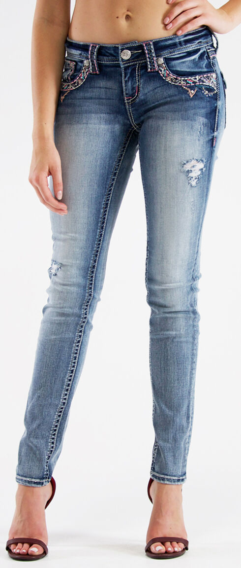 Grace in LA Women's Colorful Embroidered Skinny Jeans  , Indigo, hi-res