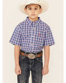 Ariat Boys' Bodie Plaid Short Sleeve Button-Down Western Shirt , Blue, hi-res