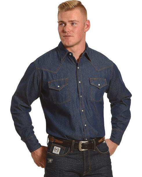 Ely Cattleman Men's Solid Snap Denim Long Sleeve Shirt - Tall, Light/pastel Blue, hi-res