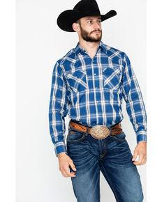 66b18db8 Ely Cattleman Mens Plaid Long Sleeve Western Shirt , Blue, hi-res