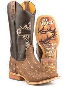 Tin Haul Men's John 3:16 Western Boots - Square Toe, Tan, hi-res