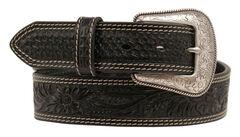 Nocona Embossed Oval Concho Belt, Black, hi-res