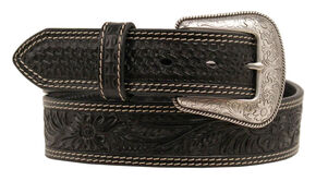 Nocona Embossed Oval Concho Belt, Black, hi-res