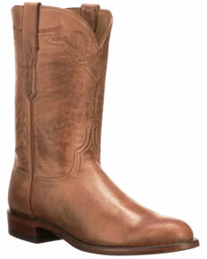 Lucchese Men's Tan Sunset Roper Western Boots - Round Toe, Tan, hi-res