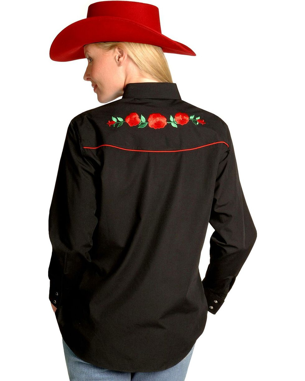 Ely Embroidered Red Roses Vintage Western Cowboy Shirt, Black, hi-res