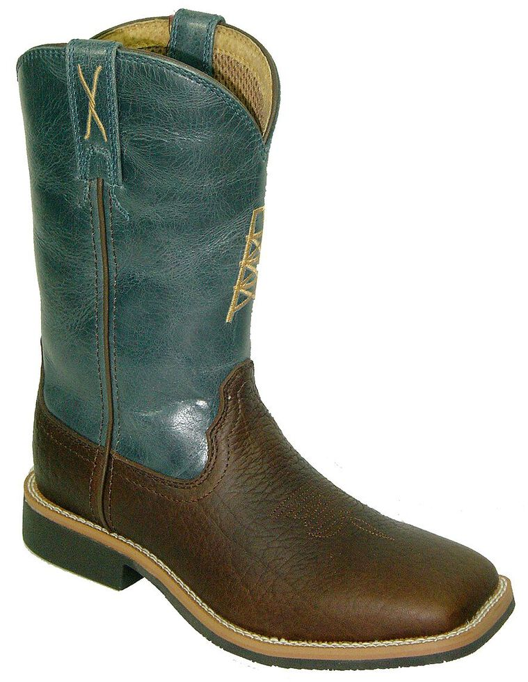 Twisted X Youth Boys' Blue Cowkid Work Boots - Square Toe, Cognac, hi-res