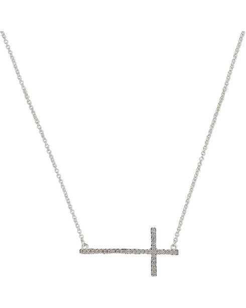 Montana Silversmiths Bling Cross Necklace, Silver, hi-res
