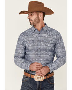 Moonshine Spirit Men's Buffalo Trace Aztec Print Long Sleeve Snap Western Shirt , Navy, hi-res