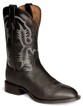 Tony Lama Black Bullhide Stockman Boots - Round Toe, Black, hi-res
