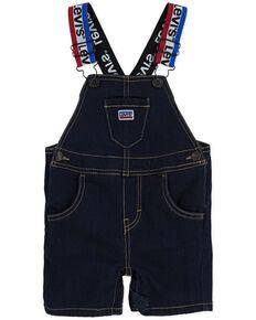 Levi's Infant Boys' Dark Wash Stripe Strap Overalls , Dark Blue, hi-res