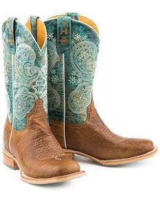 Tin Haul Women's Yee-Haw Western Boots - Square Toe, Tan, hi-res