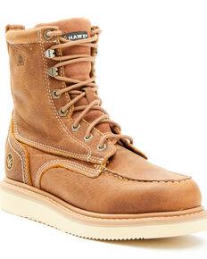 Hawx Men's Brown Wedge Work Boots - Soft Toe, Brown, hi-res