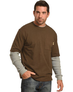 Wolverine Men's Dark Brown Miter II Long Sleeve Tee , Dark Brown, hi-res
