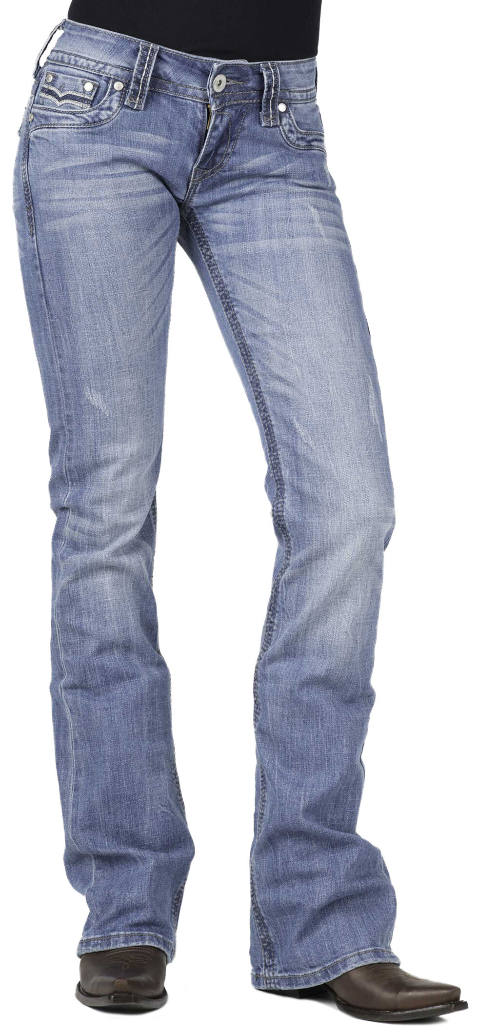 Stetson 818 Flap Back Pocket Jeans - Plus Size, Denim, hi-res