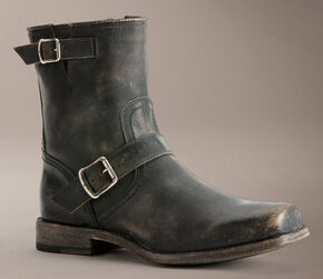 Frye Smith Engineer Stonewashed Boots, Black, hi-res
