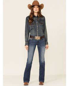 Ariat Women's REAL Weave Pocket Bootcut Jeans, Blue, hi-res