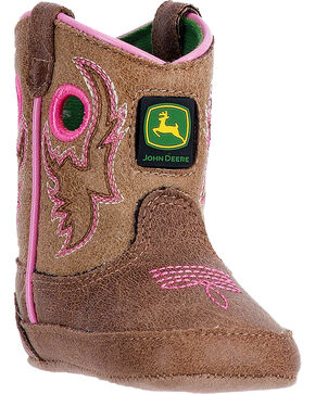 "John Deere Infant Girls' Pink Embroidery 3"" Pull On Boots - Square Toe , Pink, hi-res"