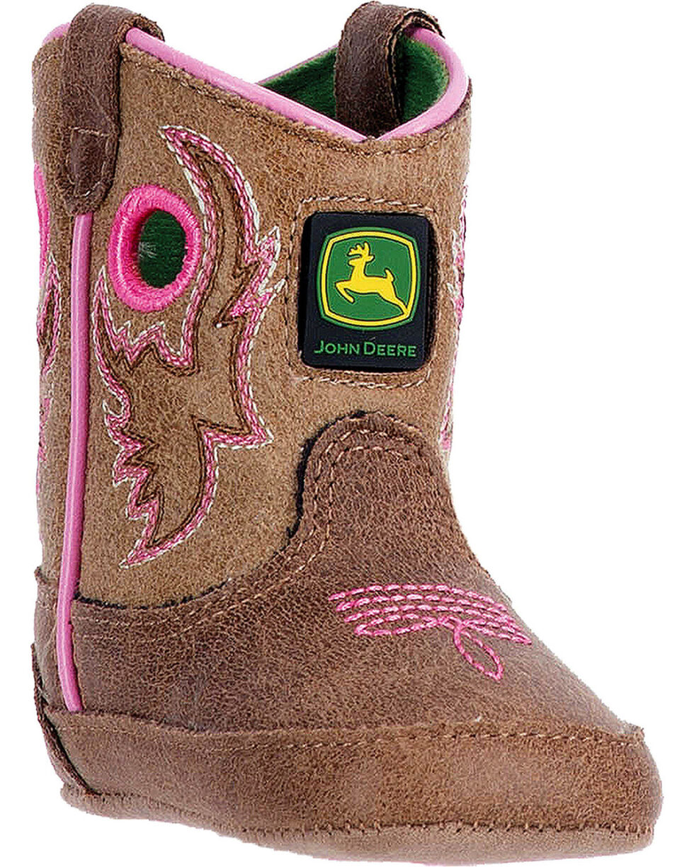 """John Deere Infant Girls' Pink Embroidery 3"""" Pull On Boots - Square Toe , Pink, hi-res"""