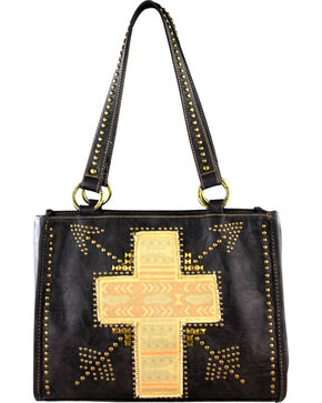 Montana West Spiritual Collection Cross Vintage Print Handbag, Grey, hi-res