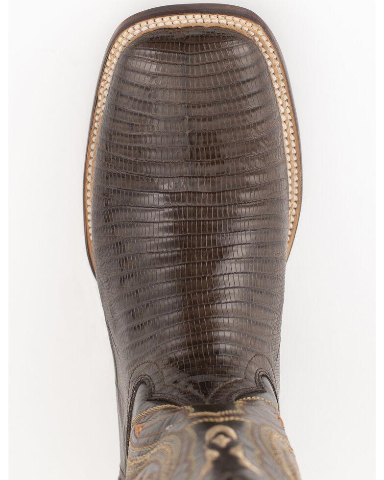Ferrini Chocolate Teju Lizard Cowboy Boots - Wide Square Toe, Chocolate, hi-res