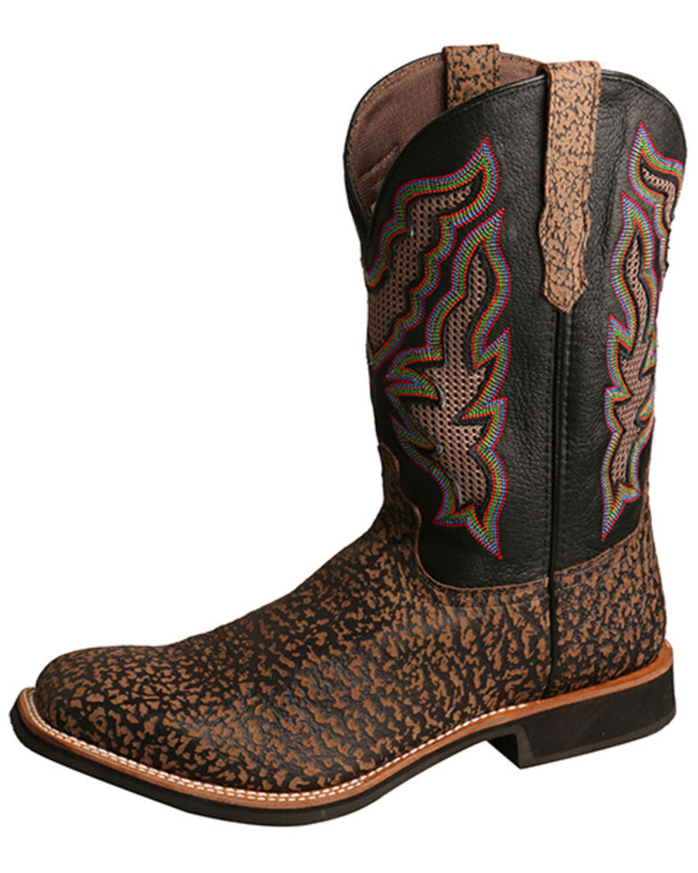 Twisted X Men's Brown Rancher Western Boots - Wide Square Toe, Black/brown, hi-res