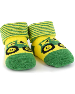 John Deere Infant Boys' Green Tractor Baby Booties , Green, hi-res