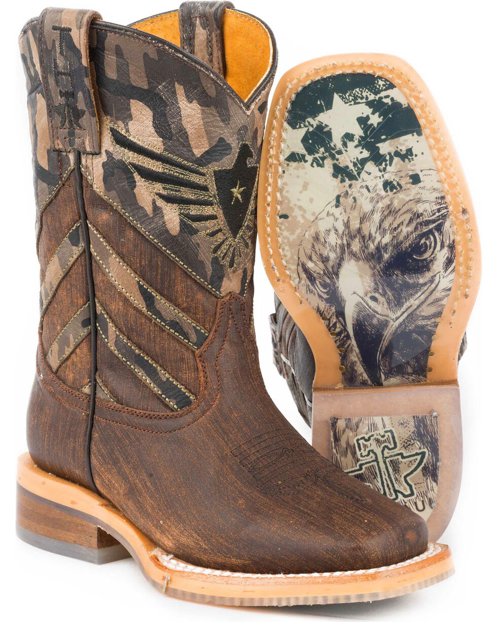 Tin Haul Boys' Sergeant at Arms Eagle Cowboy Boots - Square Toe, Brown, hi-res