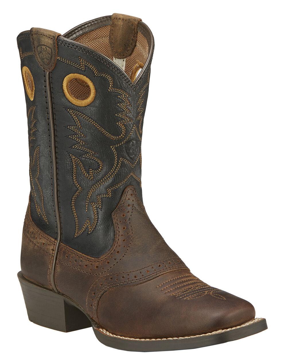 Ariat Boys' Roughstock Cowboy Boots - Square Toe, Brown, hi-res
