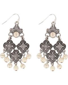 Shyanne Women's Medallion Chandelier Earrings, Cream, hi-res